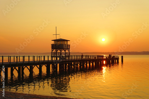 Sunset at the sea bridge in Glücksburg (Baltic Sea), Schlewig-Holstein,Germany © Pixelheld