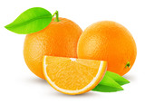 three orange orange and cut isolated on white background and shadow