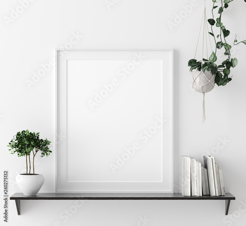 Mock up poster frame in interior background with decor on shelf, 3d render - 260275132