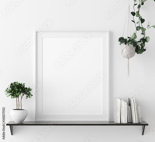 Leinwandbild Motiv Mock up poster frame in interior background with decor on shelf, 3d render