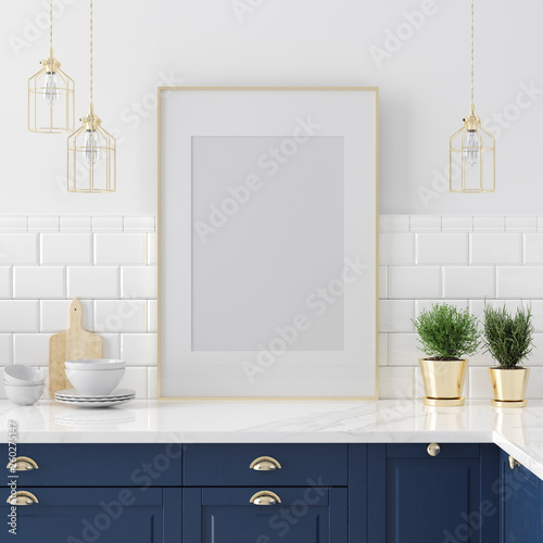 Mock up poster frame close-up in kitchen  interior, American style, 3d render