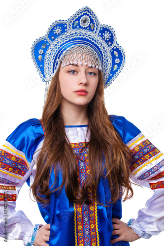 Traditional Russian folk costume, portrait of a young beautiful girl © Andrey_Arkusha