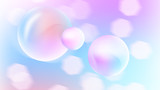 Gentle spring abstraction with beautiful bubbles and bokeh effect, romantic and lovely background, 3d rendering backdrop