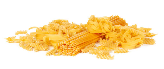 Delicious mixed pasta on white background © NewFabrika