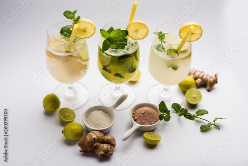 Shikanji is lemonade originating from the Punjab/India. Also known as shikanjvi or Nimbu Pani or sherbet. popular summer cold drink © Arundhati