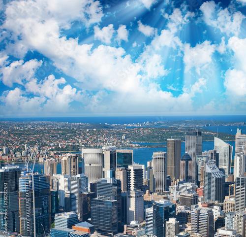 fototapeta na ścianę Sunset aerial view of Sydney skyline with Barangaroo and CBD