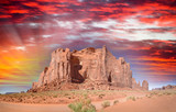 Panoramic view of Monument Valley mountain and road across national park - 260312754