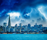San Francisco, California. Panoramic view of Downtown skyline during a storm - 260312779