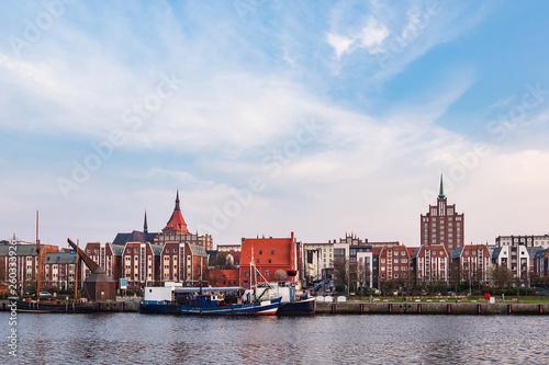 canvas print picture Blick auf den Stadthafen in Rostock