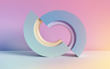 3d render, abstract background, pastel neon primitive geometric shapes, arch, simple mockup, minimal design elements
