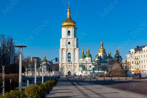 Leinwandbild Motiv Bell tower of Sophia of Kiev, which is a monument of Ukrainian architecture in the, Kiev, Ukraine