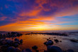 Quadro Beautiful sunset at sea side with stones