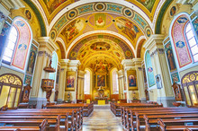"Постер, картина, фотообои ""Interior of St Nicholas Parish Church, Bad Ischl, Salzkammergut, Austria"""