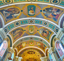 "Постер, картина, фотообои ""Frescoes in St Nicholas Parish church, Bad Ischl, Salzkammergut, Austria"""