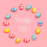Thank you message with round frame of Easter eggs