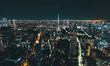 Aerial view of Tokyo Tower at night in Japan - 260366131