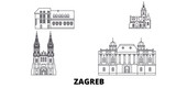 Croatia, Zagreb flat travel skyline set. Croatia, Zagreb black city vector panorama, illustration, travel sights, landmarks, streets.
