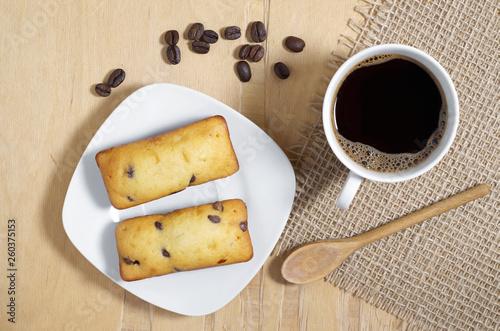 Chocolate chip cake bars and coffee
