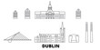 Irland, Dublin flat travel skyline set. Irland, Dublin black city vector panorama, illustration, travel sights, landmarks, streets. - 260378109