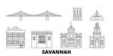 United States, Savannah flat travel skyline set. United States, Savannah black city vector panorama, illustration, travel sights, landmarks, streets.