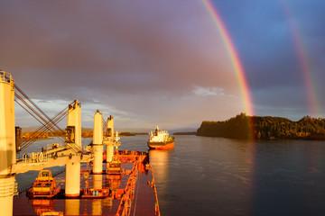 Circular double rainbow over Columbia river, Oregon