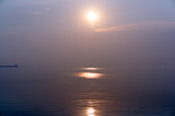 sunrise over the bay with smog and pollution