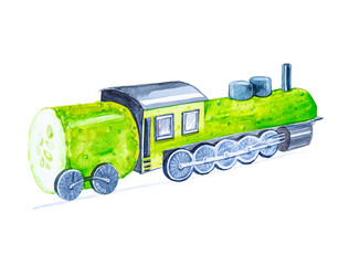 Comic watercolor illustration steam locomotive cucumber rides on rails. Isolated on white background
