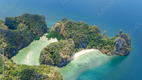 Aerial drone view of tropical Koh Hong island in blue clear Andaman sea water from above, beautiful archipelago islands and beaches of Krabi, Thailand