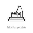 outline machu picchu vector icon. isolated black simple line element illustration from monuments concept. editable vector stroke machu picchu icon on white background