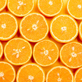 Orange delicious oranges divided in half lie