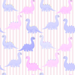Funny colorful cute dinosaurs vector flat seamless pattern isolated  © onanana