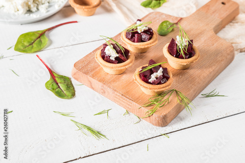 Beet salad with cottage cheese and herbs - 260427118