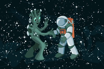 Cartoon alien meeting and handshake in space on dark starfield background