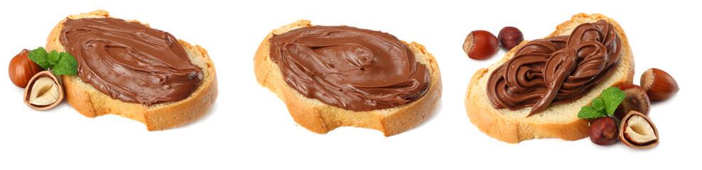 Slice of bread with chocolate cream with hazelnut isolated on white background © Tatiana