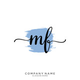 MF Initial handwriting logo vector