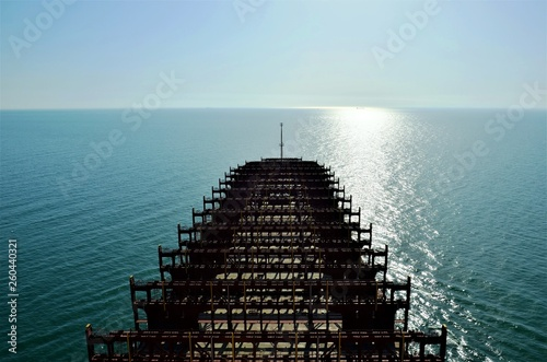 Container ship without cargo sailing through Pacific Ocean.  © Mariusz