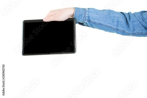 Cropped image of arm hand man showing blank tablet computer black screen © sylv1rob1