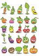 fruit and vegetable Cartoon Design Vector Set - 260463952