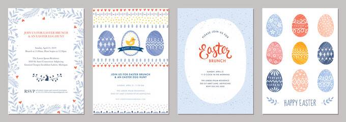 Happy Easter templates with decorative eggs.