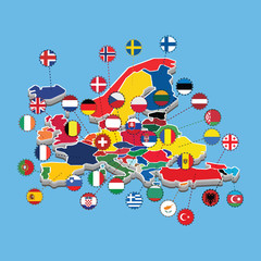 Map Western Europe Whit Flag