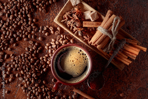 Coffee with cinnamon, anise and pieces of brown sugar. © Igor Normann