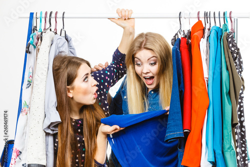 canvas print picture Happy women clothes shopping
