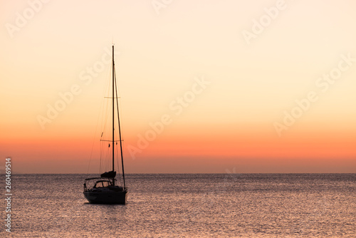 Yacht on sea water surface