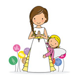 my first communion. Little girl with angel