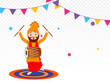 Cute punjabi man dancing while playing drum, on decorative png background.
