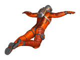 Astronaut in spacesuit floating. Isolated on white. 3D rendering.
