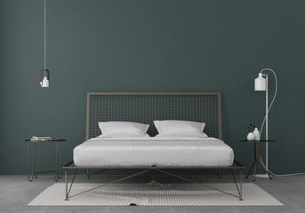 Bedroom interior with a metal bed