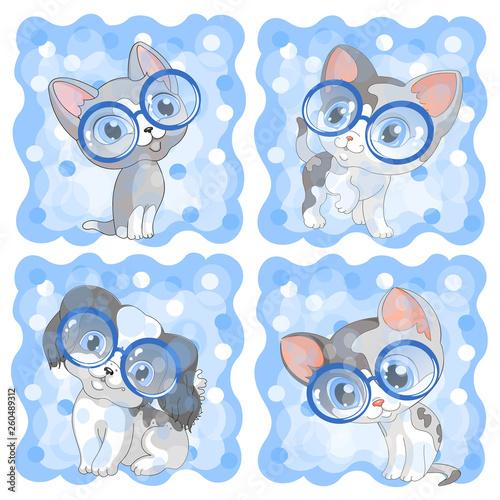 kittens kitten cats cat puppy dog pets circle glasses blue background cartoon children illustration vector