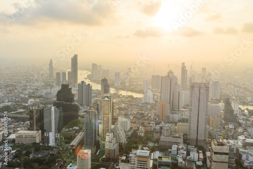 Fototapeten Bangkok high view of the city in sunset time / High view of Bangkok city in sunset