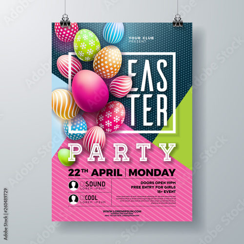 Vector Easter Party Flyer Illustration with painted eggs, spring flower and typography elements on nature blue background. Spring holiday celebration poster design template.